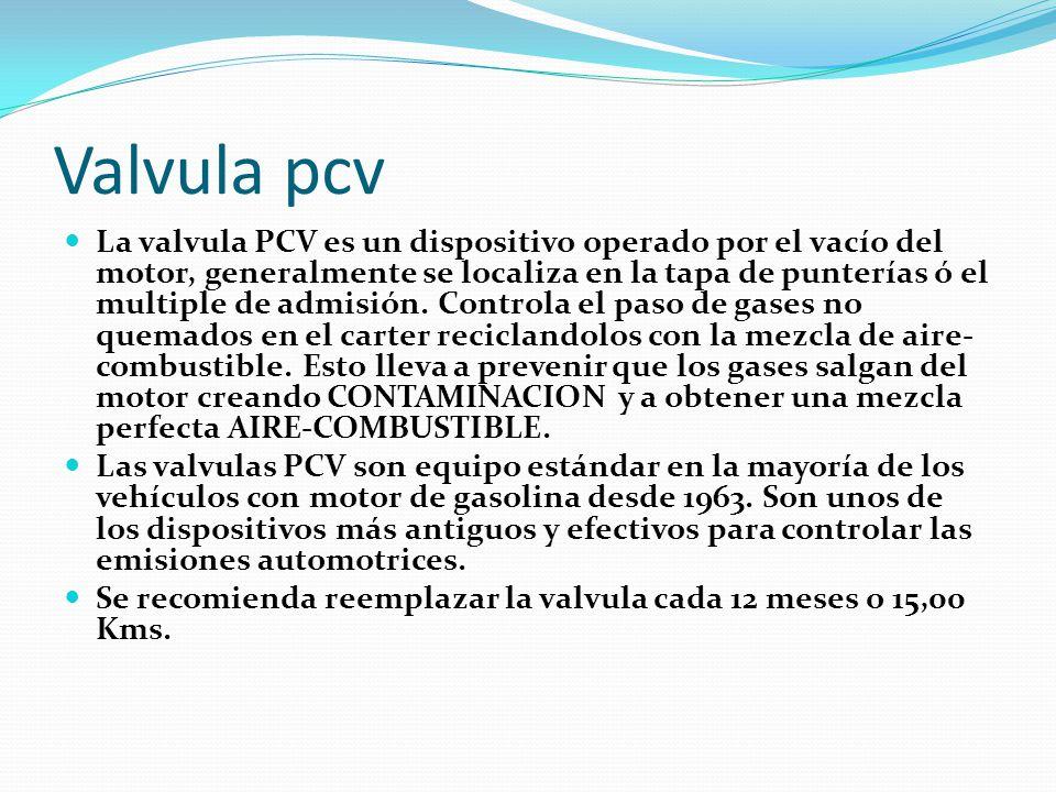 Valvula pcv La valvula PCV es un dispositivo operado por el vacío del motor, generalmente se localiza en la tapa de punterías ó el multiple de admisión.