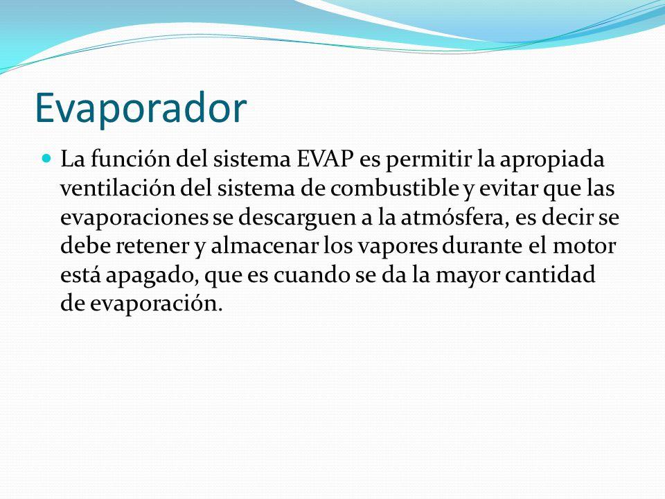 Evaporador La función del sistema EVAP es permitir la apropiada ventilación del sistema de combustible y evitar que las evaporaciones se descarguen a la atmósfera, es decir se debe retener y almacenar los vapores durante el motor está apagado, que es cuando se da la mayor cantidad de evaporación.