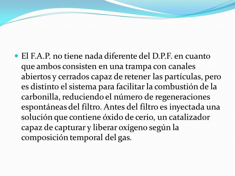 El F.A.P. no tiene nada diferente del D.P.F. en cuanto que ambos consisten en una trampa con canales abiertos y cerrados capaz de retener las partícul