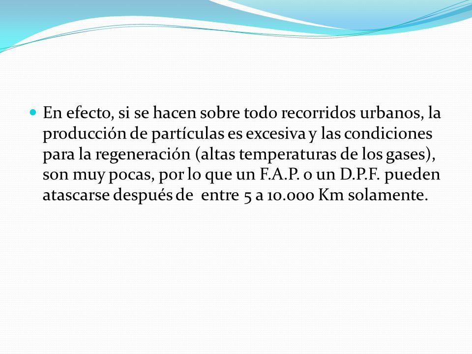 En efecto, si se hacen sobre todo recorridos urbanos, la producción de partículas es excesiva y las condiciones para la regeneración (altas temperaturas de los gases), son muy pocas, por lo que un F.A.P.