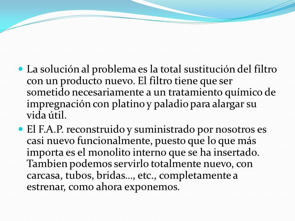 La solución al problema es la total sustitución del filtro con un producto nuevo.