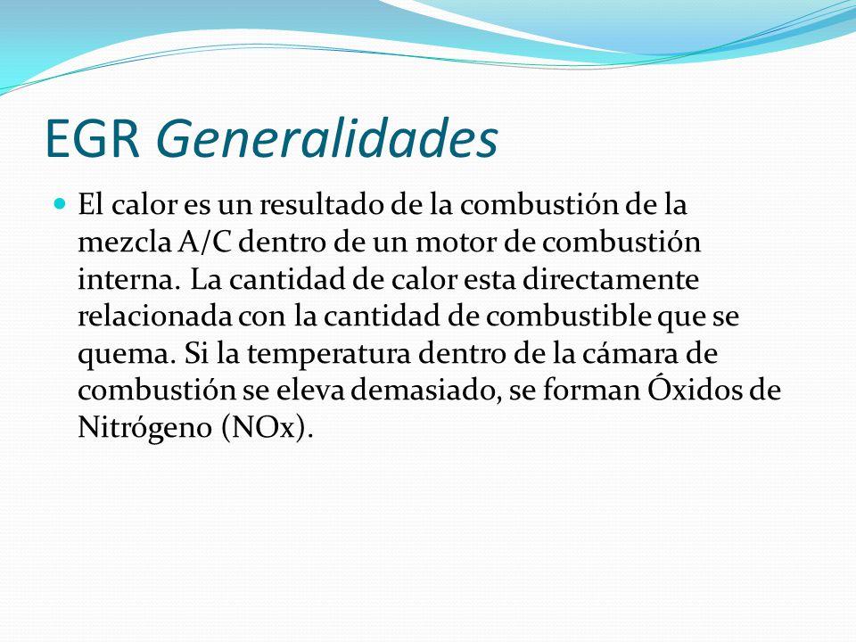 EGR Generalidades El calor es un resultado de la combustión de la mezcla A/C dentro de un motor de combustión interna. La cantidad de calor esta direc
