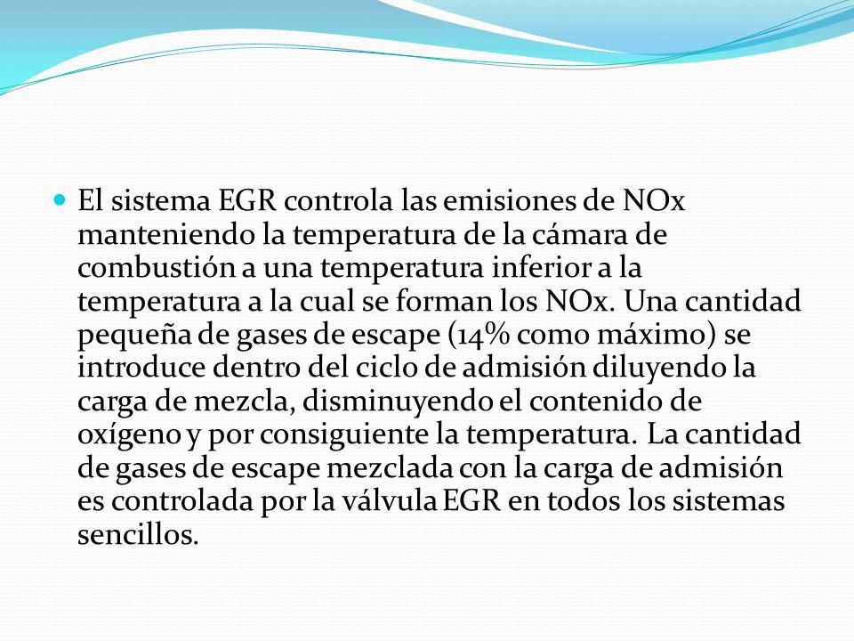 El sistema EGR controla las emisiones de NOx manteniendo la temperatura de la cámara de combustión a una temperatura inferior a la temperatura a la cu
