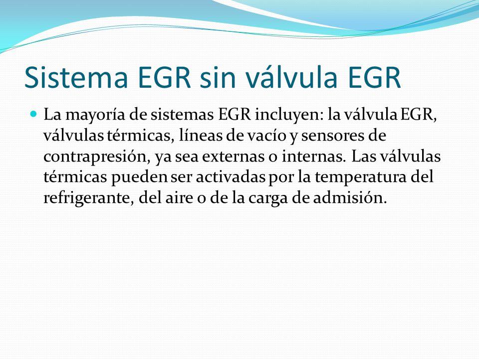 Sistema EGR sin válvula EGR La mayoría de sistemas EGR incluyen: la válvula EGR, válvulas térmicas, líneas de vacío y sensores de contrapresión, ya sea externas o internas.