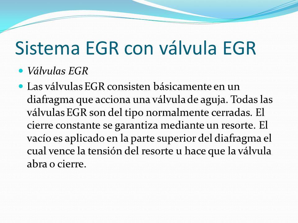 Sistema EGR con válvula EGR Válvulas EGR Las válvulas EGR consisten básicamente en un diafragma que acciona una válvula de aguja. Todas las válvulas E