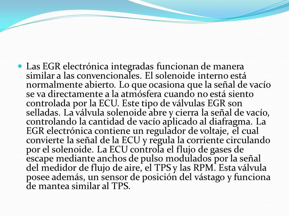 Las EGR electrónica integradas funcionan de manera similar a las convencionales. El solenoide interno está normalmente abierto. Lo que ocasiona que la