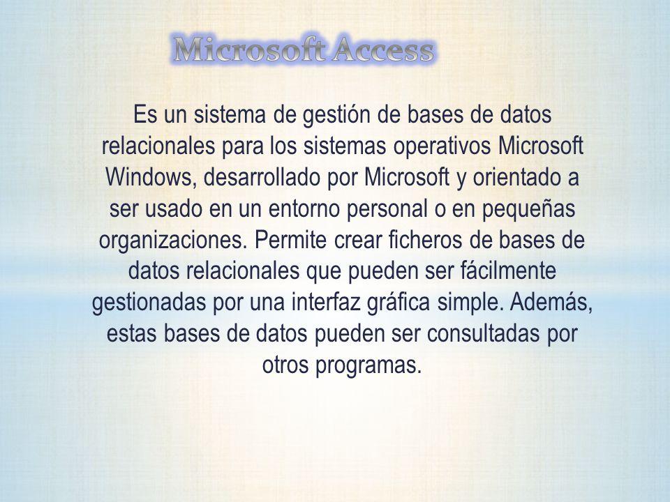 Es un sistema de gestión de bases de datos relacionales para los sistemas operativos Microsoft Windows, desarrollado por Microsoft y orientado a ser u