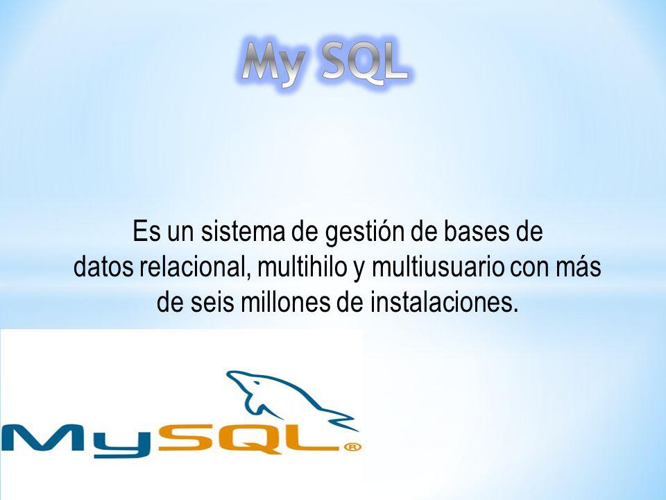 Es un sistema de gestión de bases de datos relacional, multihilo y multiusuario con más de seis millones de instalaciones.
