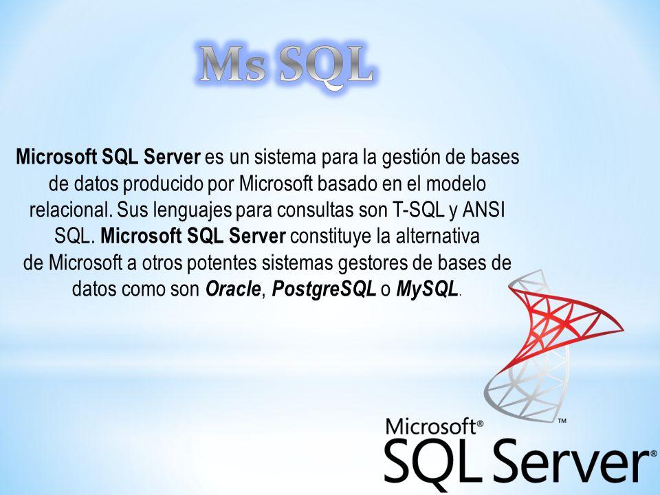 Microsoft SQL Server es un sistema para la gestión de bases de datos producido por Microsoft basado en el modelo relacional. Sus lenguajes para consul