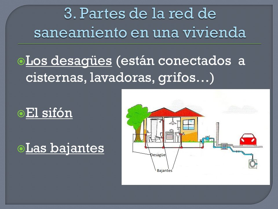 Los desagües (están conectados a cisternas, lavadoras, grifos…) El sifón Las bajantes