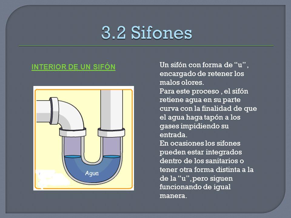 Un sifón con forma de u, encargado de retener los malos olores. Para este proceso, el sifón retiene agua en su parte curva con la finalidad de que el