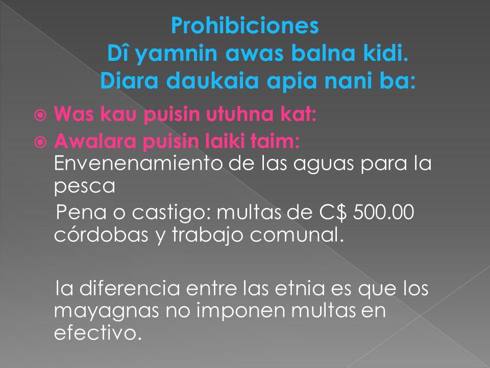 Was kau puisin utuhna kat: Awalara puisin laiki taim: Envenenamiento de las aguas para la pesca Pena o castigo: multas de C$ 500.00 córdobas y trabajo