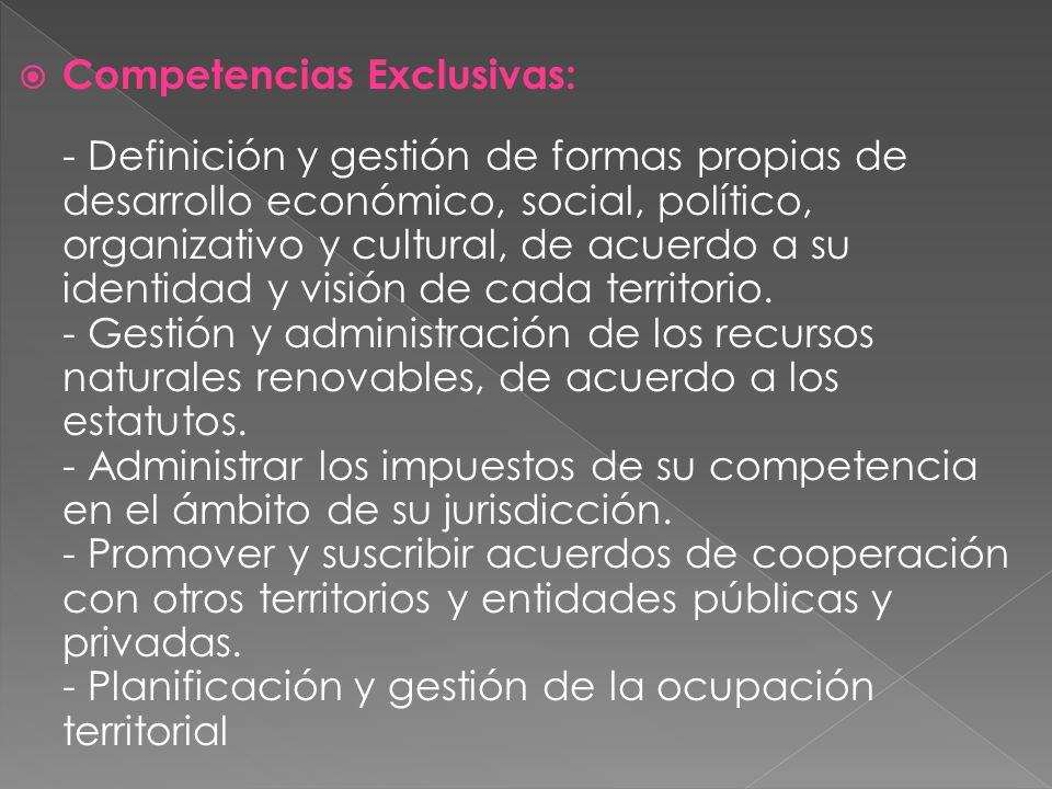 Competencias Exclusivas: - Definición y gestión de formas propias de desarrollo económico, social, político, organizativo y cultural, de acuerdo a su
