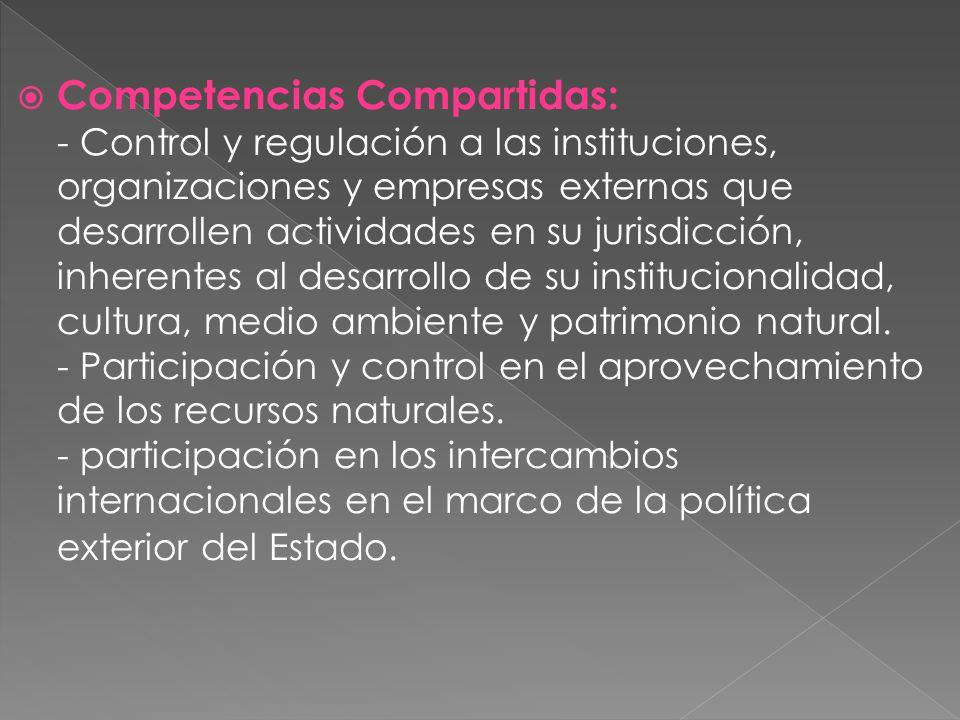 Competencias Compartidas: - Control y regulación a las instituciones, organizaciones y empresas externas que desarrollen actividades en su jurisdicció