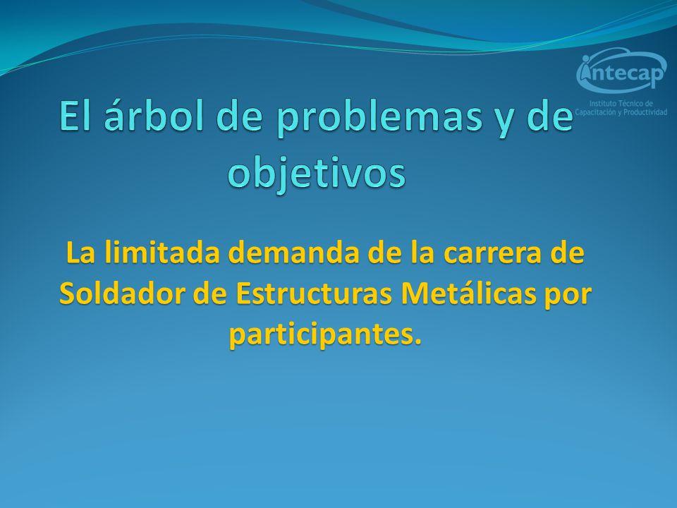 Planteamiento del problema La limitada demanda de la carrera de Soldador de Estructuras Metálicas por los participantes.