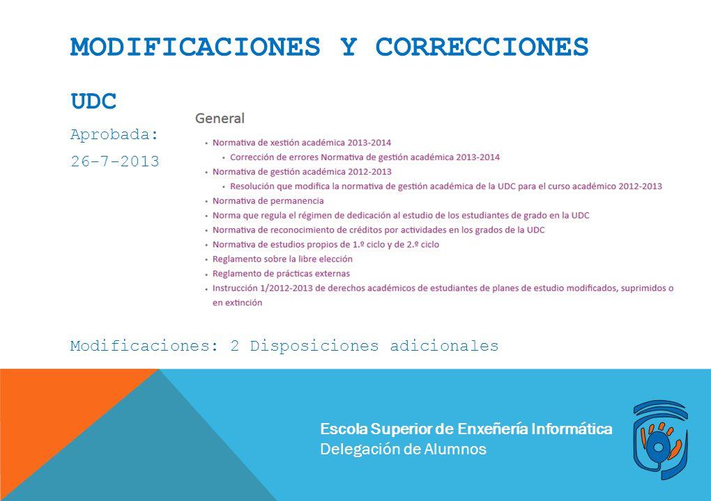 Escola Superior de Enxeñería Informática Delegación de Alumnos MODIFICACIONES Y CORRECCIONES UDC Aprobada: 26-7-2013 Modificaciones: 2 Disposiciones a
