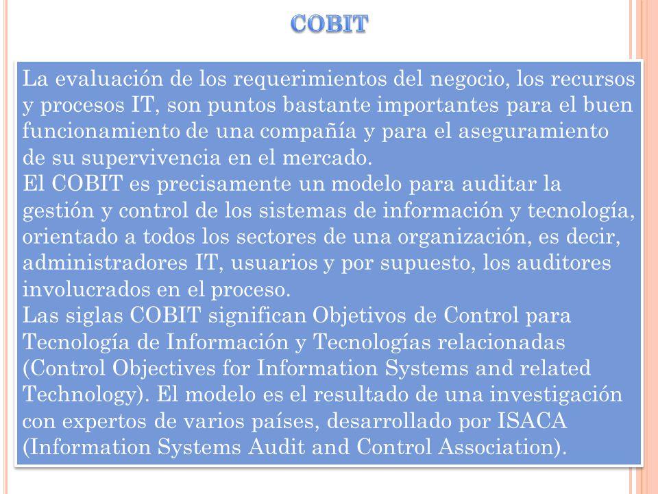 La evaluación de los requerimientos del negocio, los recursos y procesos IT, son puntos bastante importantes para el buen funcionamiento de una compañ