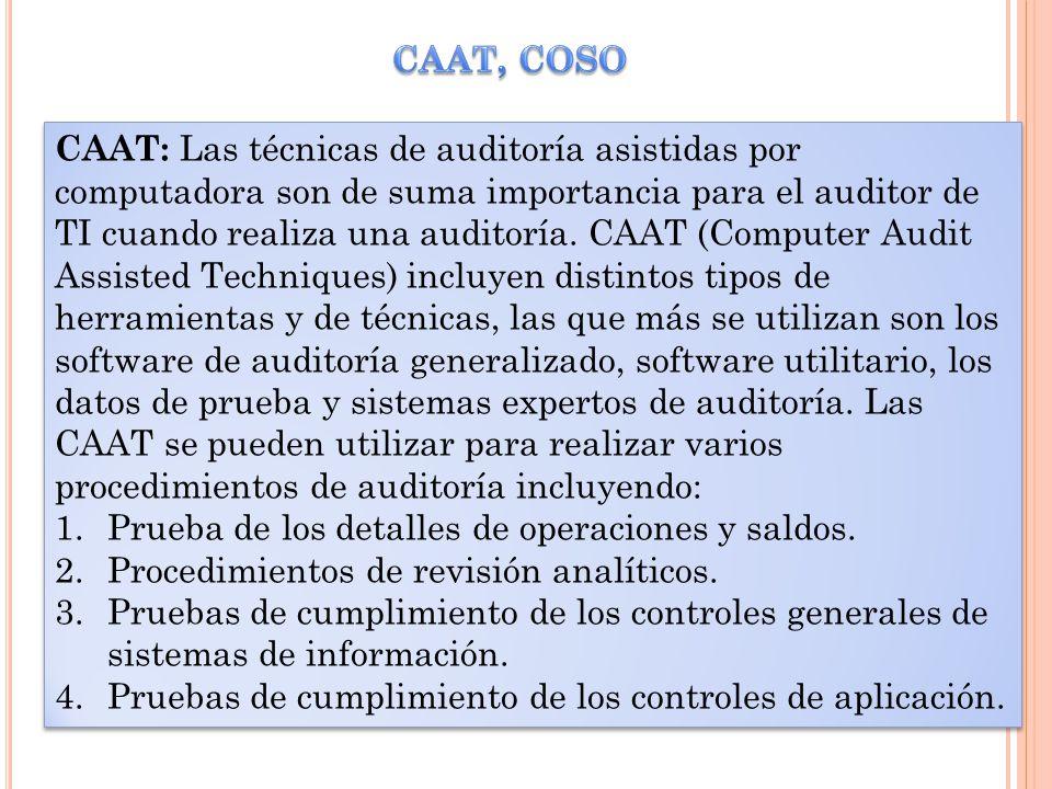 CAAT: Las técnicas de auditoría asistidas por computadora son de suma importancia para el auditor de TI cuando realiza una auditoría. CAAT (Computer A