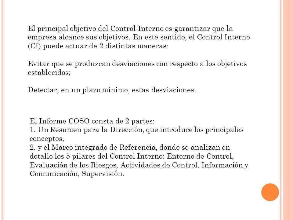 El Informe COSO consta de 2 partes: 1. Un Resumen para la Dirección, que introduce los principales conceptos, 2. y el Marco integrado de Referencia, d