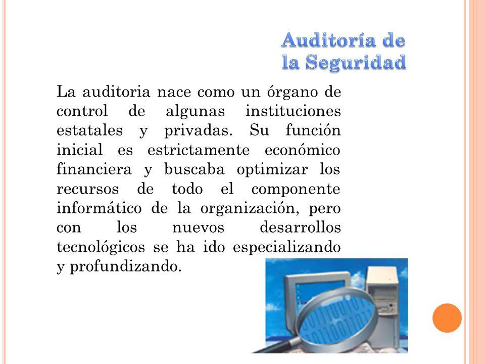 La auditoria nace como un órgano de control de algunas instituciones estatales y privadas. Su función inicial es estrictamente económico financiera y