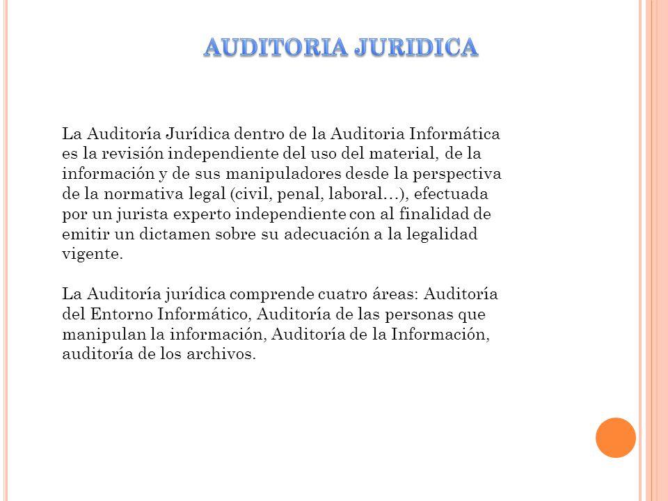 La Auditoría Jurídica dentro de la Auditoria Informática es la revisión independiente del uso del material, de la información y de sus manipuladores d