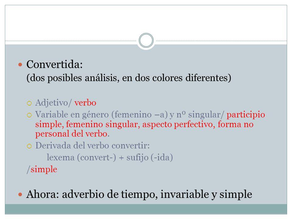 Convertida: (dos posibles análisis, en dos colores diferentes) Adjetivo/ verbo Variable en género (femenino –a) y nº singular/ participio simple, feme