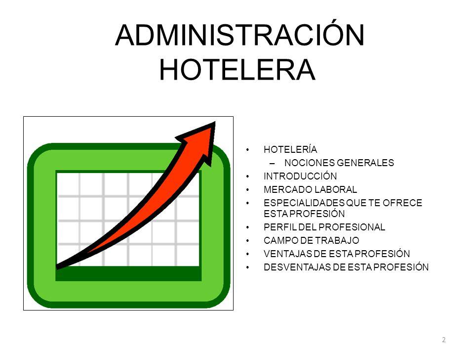 ADMINISTRACIÓN HOTELERA HOTELERÍA –NOCIONES GENERALES INTRODUCCIÓN MERCADO LABORAL ESPECIALIDADES QUE TE OFRECE ESTA PROFESIÓN PERFIL DEL PROFESIONAL CAMPO DE TRABAJO VENTAJAS DE ESTA PROFESIÓN DESVENTAJAS DE ESTA PROFESIÓN 2