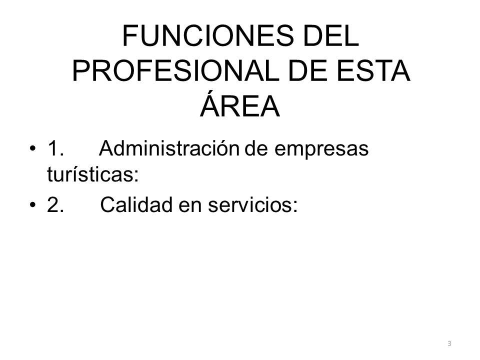 FUNCIONES DEL PROFESIONAL DE ESTA ÁREA 1. Administración de empresas turísticas: 2. Calidad en servicios: 3