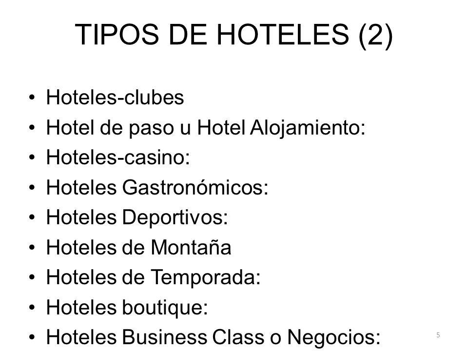 TIPOS DE HOTELES (2) Hoteles-clubes Hotel de paso u Hotel Alojamiento: Hoteles-casino: Hoteles Gastronómicos: Hoteles Deportivos: Hoteles de Montaña Hoteles de Temporada: Hoteles boutique: Hoteles Business Class o Negocios: 5