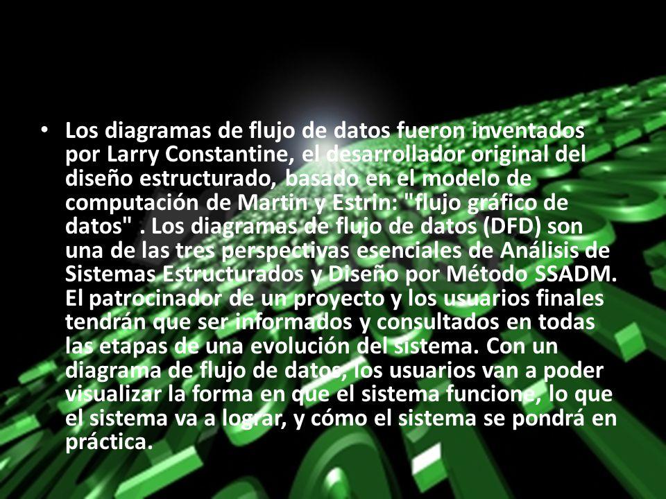 Los diagramas de flujo de datos fueron inventados por Larry Constantine, el desarrollador original del diseño estructurado, basado en el modelo de com