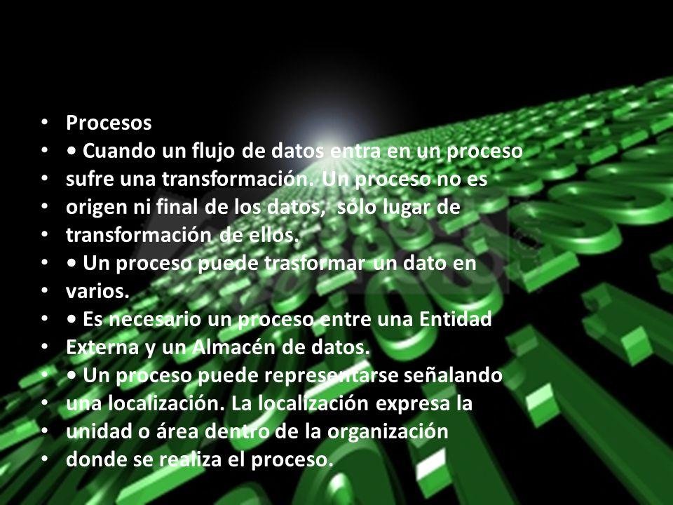 Procesos Cuando un flujo de datos entra en un proceso sufre una transformación. Un proceso no es origen ni final de los datos, sólo lugar de transform