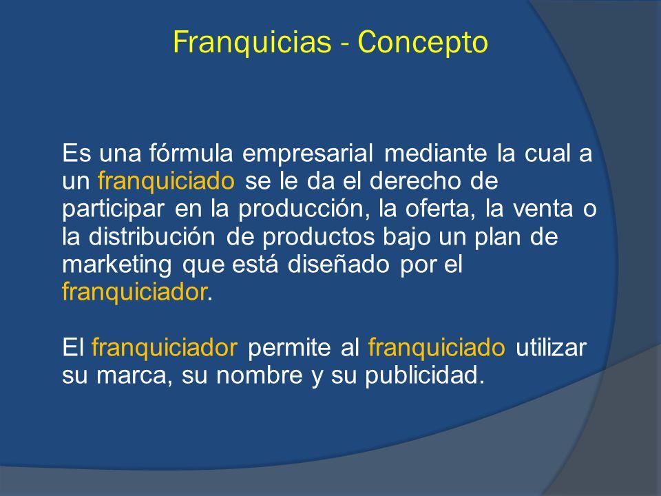 Franquicias - Concepto Es una fórmula empresarial mediante la cual a un franquiciado se le da el derecho de participar en la producción, la oferta, la