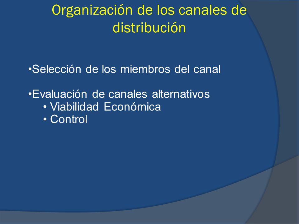 Organización de los canales de distribución Selección de los miembros del canal Evaluación de canales alternativos Viabilidad Económica Control