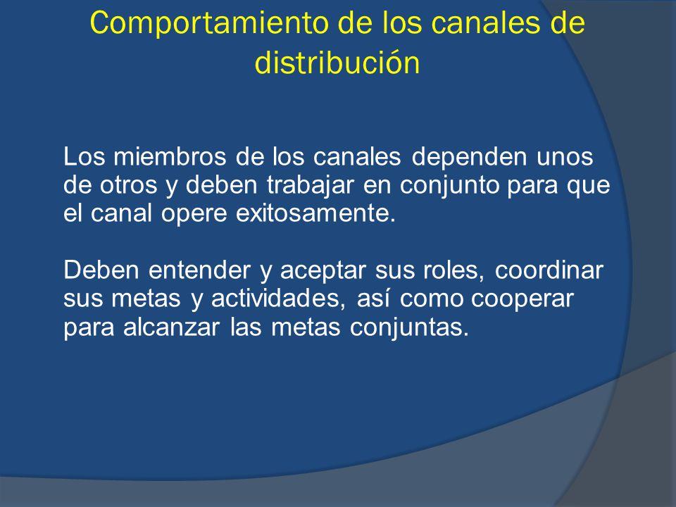Comportamiento de los canales de distribución Los miembros de los canales dependen unos de otros y deben trabajar en conjunto para que el canal opere
