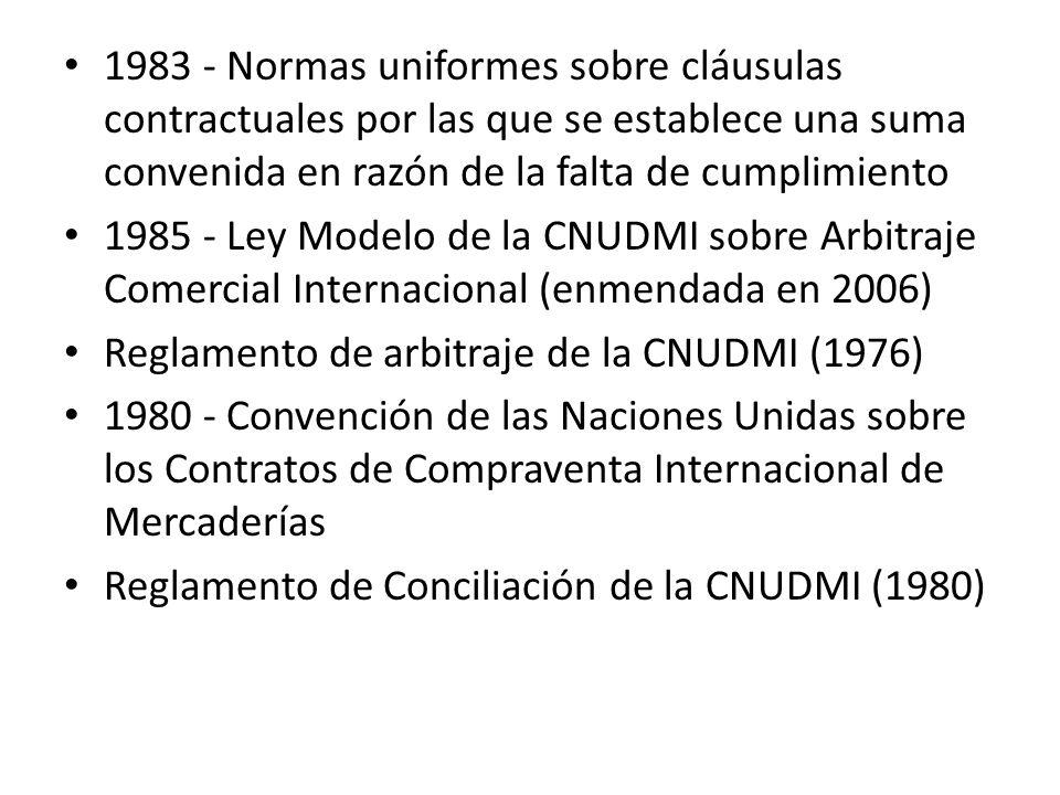1983 - Normas uniformes sobre cláusulas contractuales por las que se establece una suma convenida en razón de la falta de cumplimiento 1985 - Ley Mode