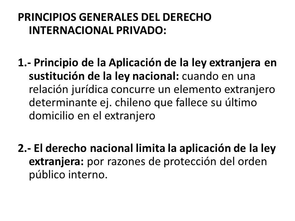 PRINCIPIOS GENERALES DEL DERECHO INTERNACIONAL PRIVADO: 1.- Principio de la Aplicación de la ley extranjera en sustitución de la ley nacional: cuando