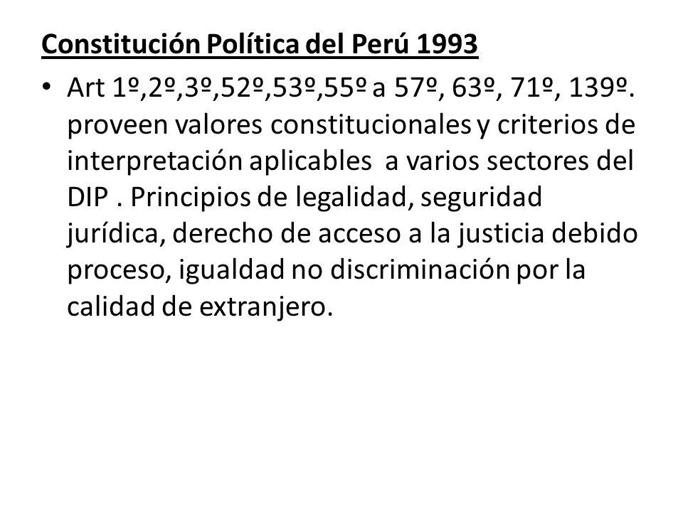 Constitución Política del Perú 1993 Art 1º,2º,3º,52º,53º,55º a 57º, 63º, 71º, 139º. proveen valores constitucionales y criterios de interpretación apl