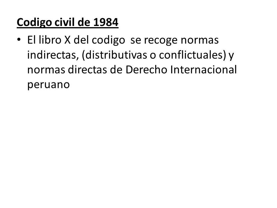 Codigo civil de 1984 El libro X del codigo se recoge normas indirectas, (distributivas o conflictuales) y normas directas de Derecho Internacional per