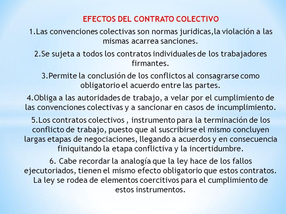 EFECTOS DEL CONTRATO COLECTIVO 1.Las convenciones colectivas son normas juridicas,la violación a las mismas acarrea sanciones. 2.Se sujeta a todos los