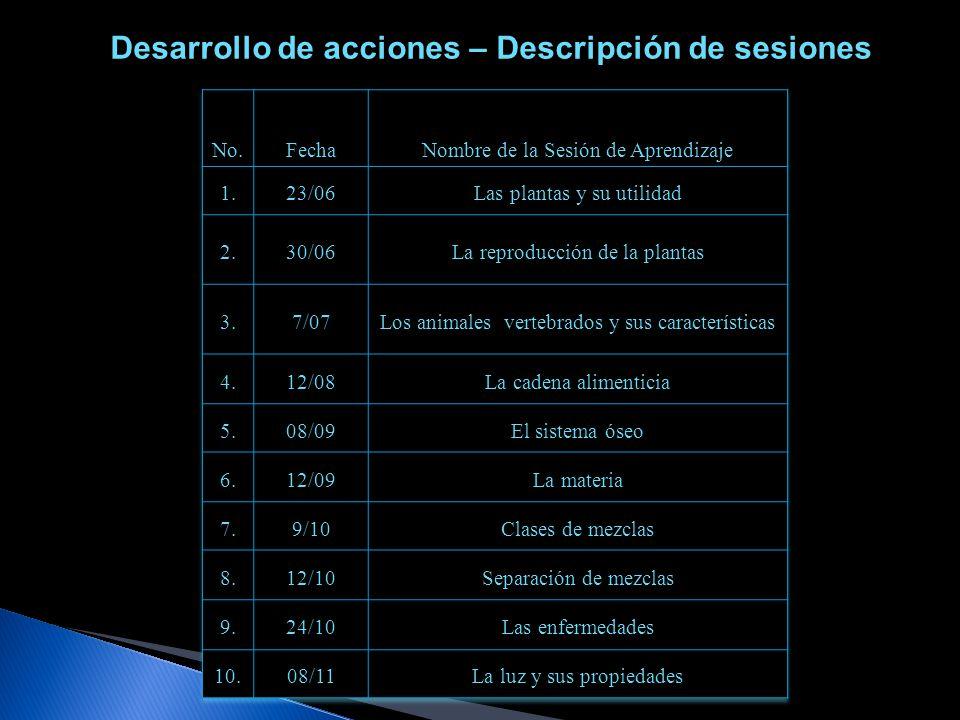 Desarrollo de acciones – Descripción de sesiones