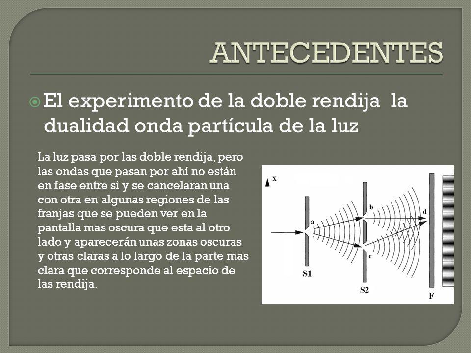 El experimento de la doble rendija la dualidad onda partícula de la luz La luz pasa por las doble rendija, pero las ondas que pasan por ahí no están e