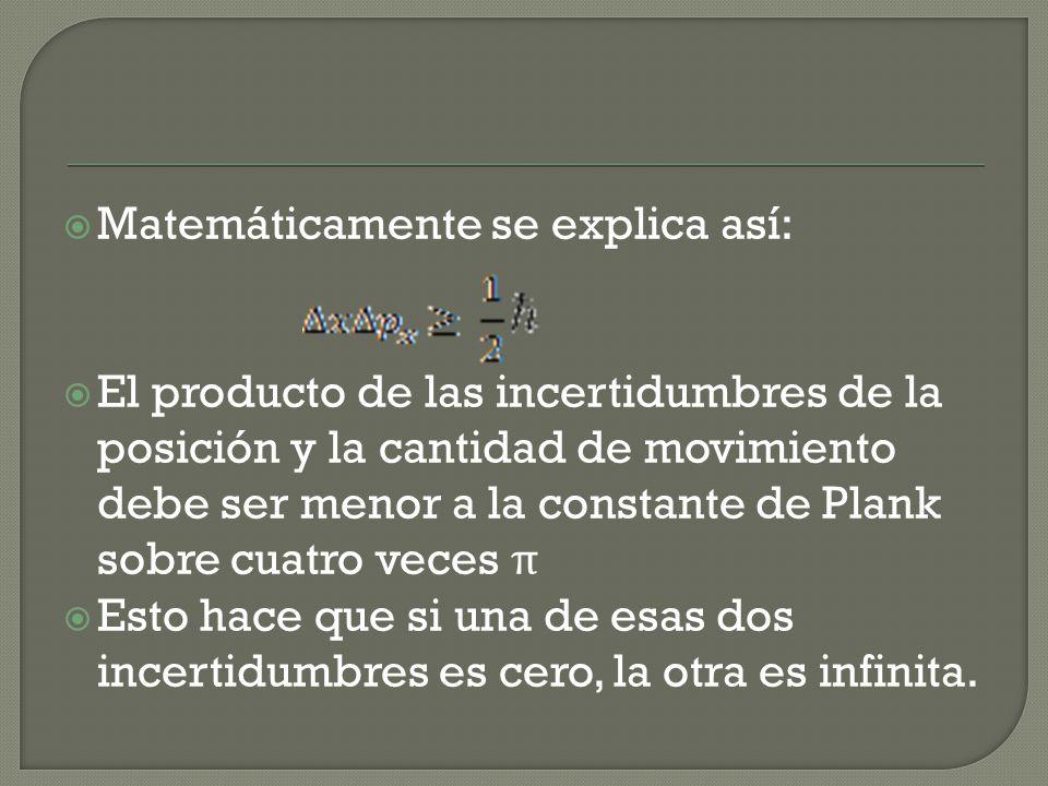 Matemáticamente se explica así: El producto de las incertidumbres de la posición y la cantidad de movimiento debe ser menor a la constante de Plank sobre cuatro veces π Esto hace que si una de esas dos incertidumbres es cero, la otra es infinita.