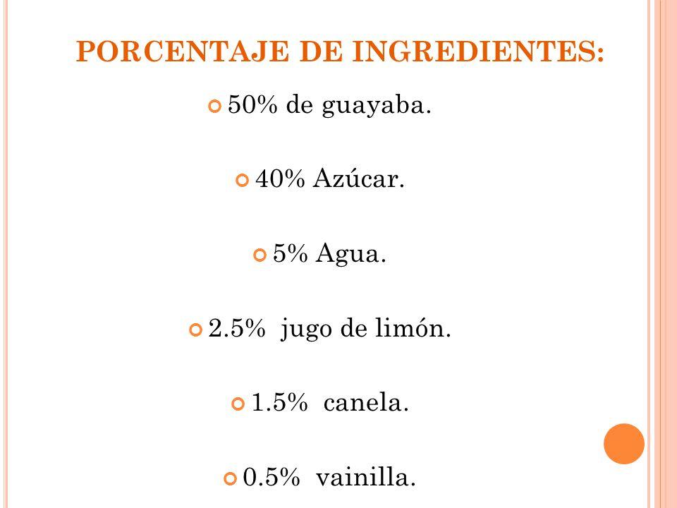 PORCENTAJE DE INGREDIENTES: 50% de guayaba. 40% Azúcar. 5% Agua. 2.5% jugo de limón. 1.5% canela. 0.5% vainilla.