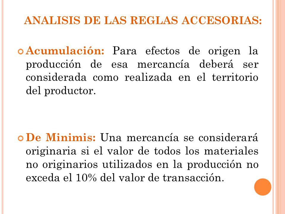 ANALISIS DE LAS REGLAS ACCESORIAS: Acumulación: Para efectos de origen la producción de esa mercancía deberá ser considerada como realizada en el terr