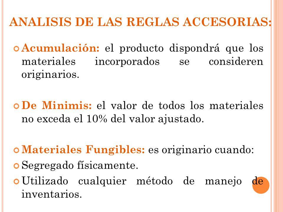 ANALISIS DE LAS REGLAS ACCESORIAS: Acumulación: el producto dispondrá que los materiales incorporados se consideren originarios. De Minimis: el valor
