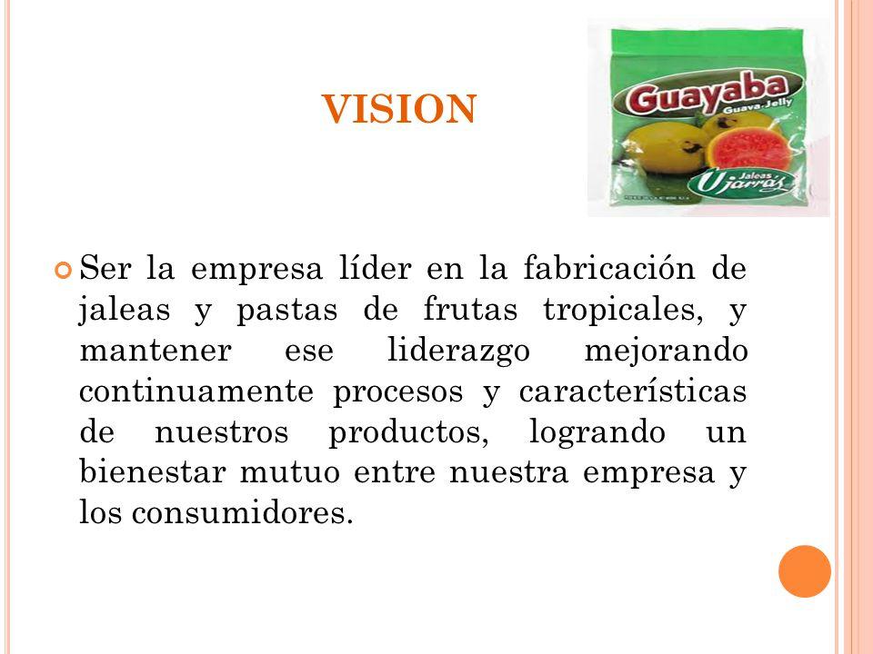 VISION Ser la empresa líder en la fabricación de jaleas y pastas de frutas tropicales, y mantener ese liderazgo mejorando continuamente procesos y car