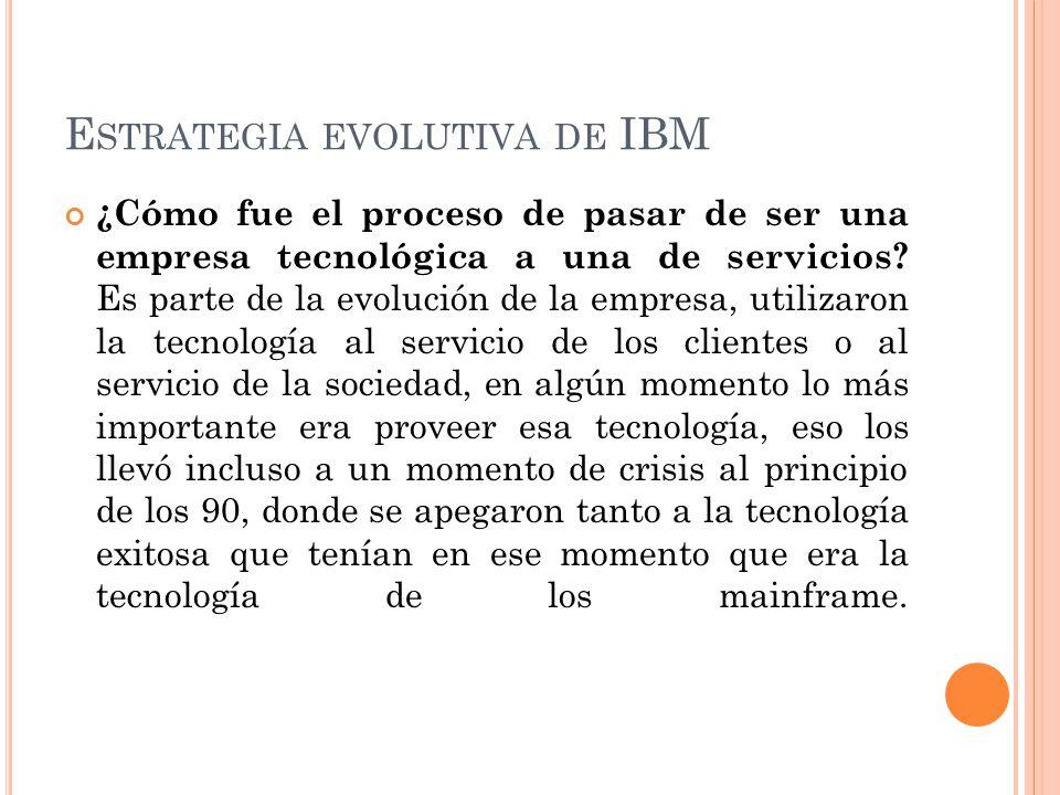 E STRATEGIA EVOLUTIVA DE IBM ¿Cómo fue el proceso de pasar de ser una empresa tecnológica a una de servicios? Es parte de la evolución de la empresa,