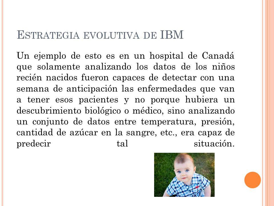 E STRATEGIA EVOLUTIVA DE IBM Un ejemplo de esto es en un hospital de Canadá que solamente analizando los datos de los niños recién nacidos fueron capa