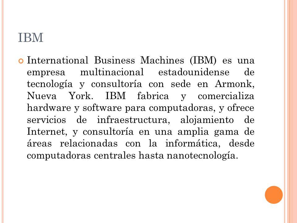 IBM Fundada en 1911 como la Computing Tabulating Recording Corporation, el resultado de la fusión de cuatro empresas: Tabulating Machine Company, la International Time Recording Company, la Computing Scale Corporation, y la Bundy Manufacturing Company.