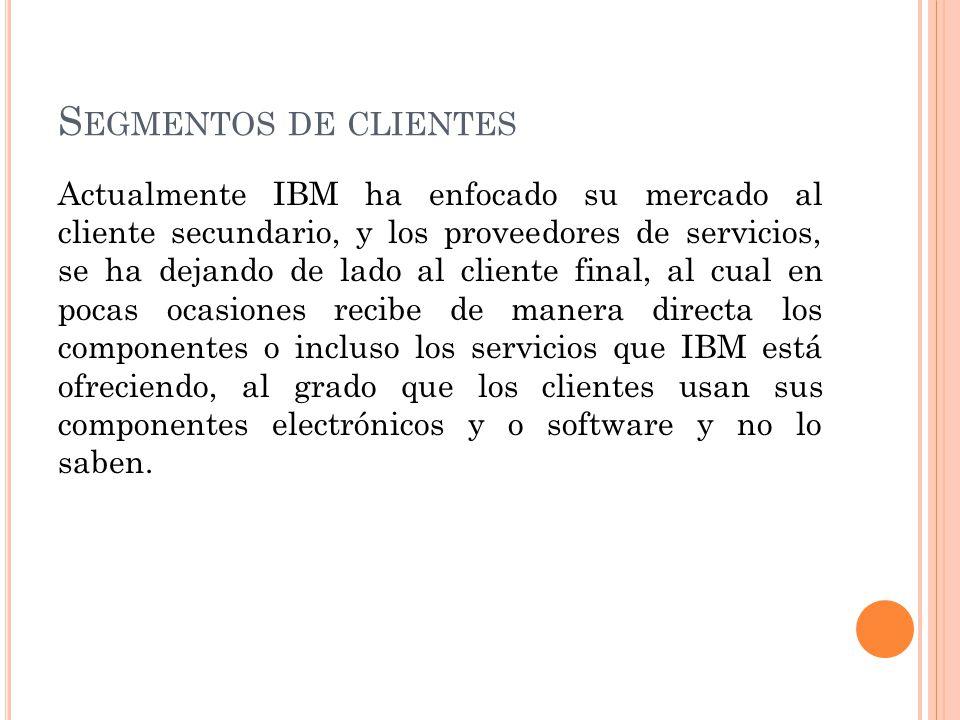 S EGMENTOS DE CLIENTES Actualmente IBM ha enfocado su mercado al cliente secundario, y los proveedores de servicios, se ha dejando de lado al cliente